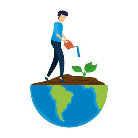 Illustration pour young man planting tree in the planet earth vector illustration design - image libre de droit