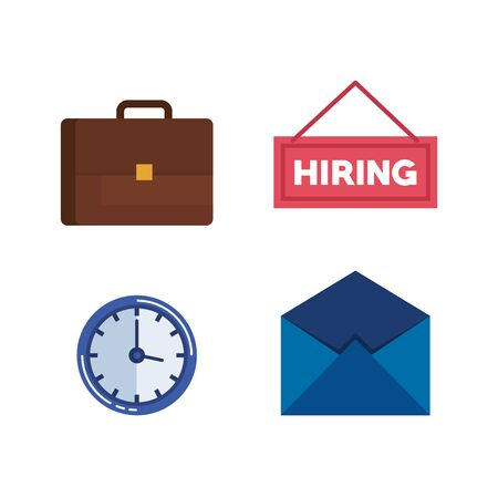 Illustration pour set briefcase with clock and hiring letter vector illustration - image libre de droit