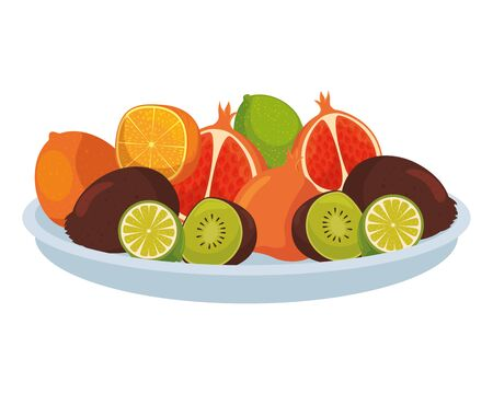 Illustration for dish with group of tropical and fresh fruits vector illustration design - Royalty Free Image
