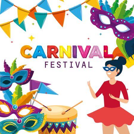 Vektor für woman dancer costume with masks and drum to carnival celebration vector illustration - Lizenzfreies Bild
