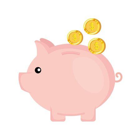 Illustration pour piggy savings with coins money vector illustration design - image libre de droit
