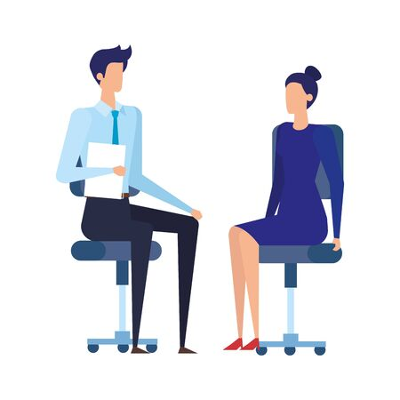 Ilustración de elegant business couple workers in office chairs vector illustration design - Imagen libre de derechos