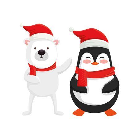 Illustration pour cute bear and penguin characters merry christmas vector illustration design - image libre de droit