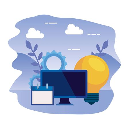 Illustration pour desktop computer with bulb and calendar vector illustration design - image libre de droit