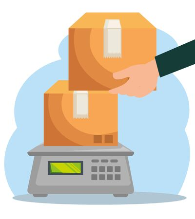 Illustration for man hand with boxes packages in the weighing machine to delivery service vector illustration - Royalty Free Image