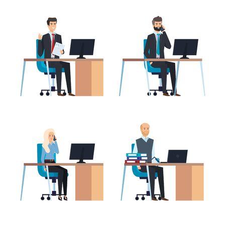 Illustration pour set professional businesswoman and busineesmen in the office vector illustration - image libre de droit