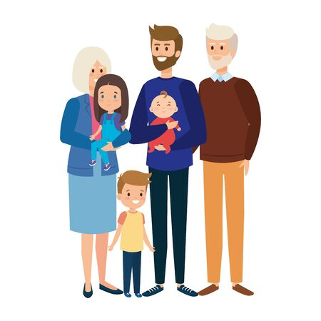Illustration for grandparents couple with son and little kids vector illustration design - Royalty Free Image