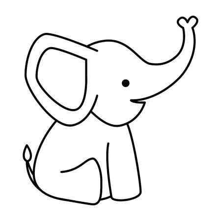 Ilustración de cute little elephant baby character vector illustration design - Imagen libre de derechos