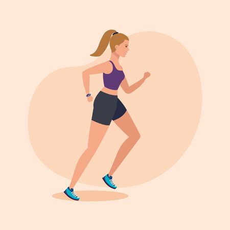 Illustration pour fitness woman running to practice sport over pink background, vector illustration - image libre de droit