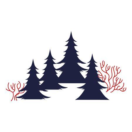 Illustration pour pines trees forest winter scene vector illustration design - image libre de droit