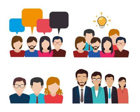 Illustration for bundle with set of face business people vector illustration design - Royalty Free Image
