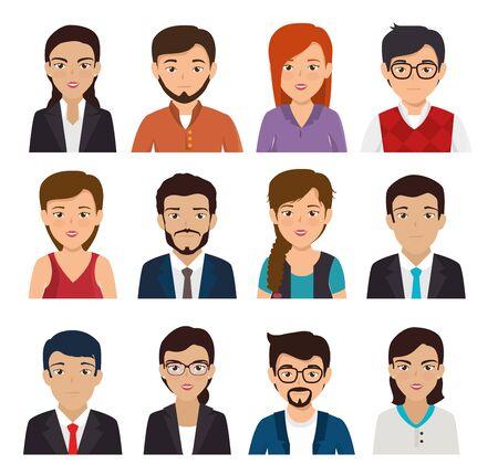 Illustration pour bundle with set of face business people vector illustration design - image libre de droit