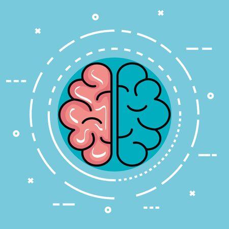 Illustration pour label with health brain and creative mind vector illustration - image libre de droit
