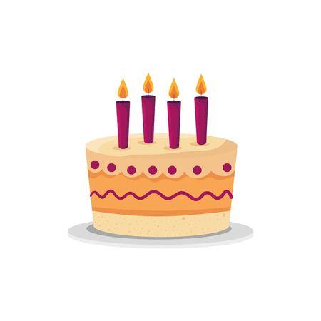 Illustration pour Cake design, happy birthday celebration decoration party festive and surprise theme Vector illustration - image libre de droit