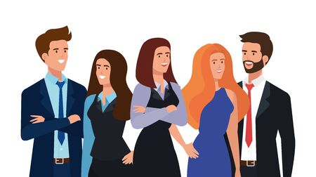 Illustration pour group of business people avatar character vector illustration design - image libre de droit