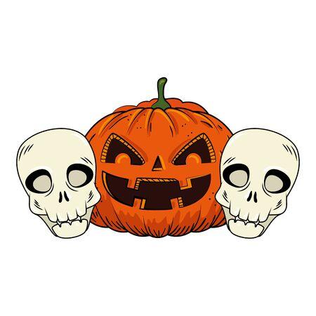 Illustration pour halloween pumpkin with skulls pop art style vector illustration design - image libre de droit