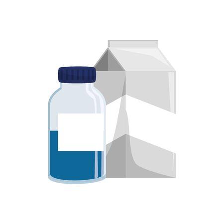 Illustration pour Vitamin jar and milk box design, Healthy lifestyle fitness bodybuilding bodycare activity exercise and diet theme Vector illustration - image libre de droit