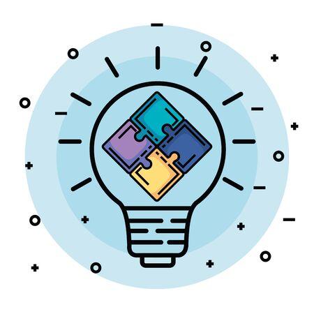 Illustration pour creative bulb idea with puzzles to memory vector illustration - image libre de droit