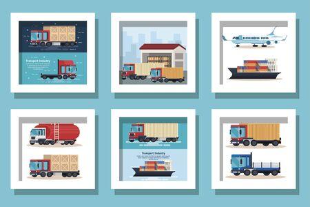 Illustration pour bundle of delivery vehicles transportation vector illustration design - image libre de droit