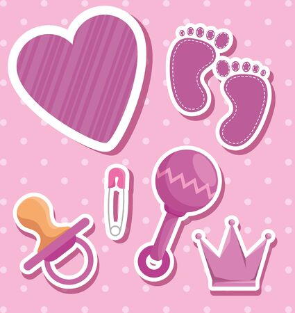 Illustration for rattle with footprint and pacifier with crown decoration to baby shower vector illustration - Royalty Free Image