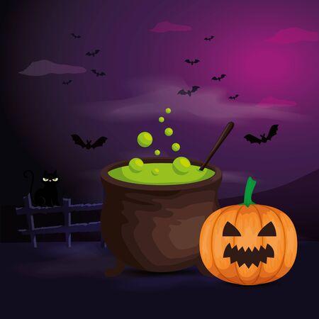 Illustration pour pumpkin with cauldron in scene halloween vector illustration design - image libre de droit