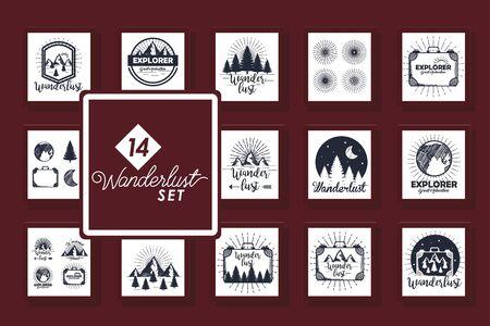 Illustration pour set of fourteen designs scenes wanderlust and icons vector illustration design - image libre de droit