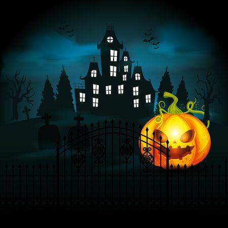 Illustration pour halloween pumpkin with castle in dark night vector illustration design - image libre de droit