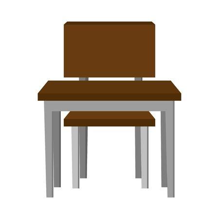 Illustration pour schooldesk with chair education icon vector illustration design - image libre de droit
