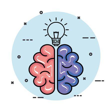 Illustration pour health brain with creative bulb idea vector illustration - image libre de droit