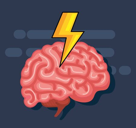 Illustration pour health brain with thunder to creative mind vector illustration - image libre de droit
