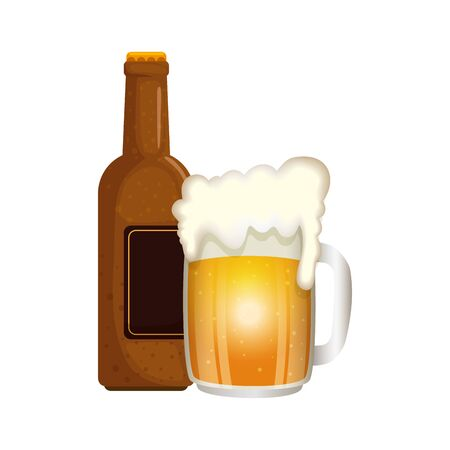 Illustration pour Beer bottle and mug design, Pub alcohol bar brewery drink ale and lager theme Vector illustration - image libre de droit