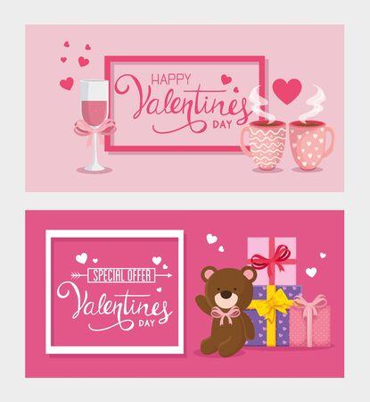 Illustration pour set cards of happy valentines day with decoration vector illustration design - image libre de droit