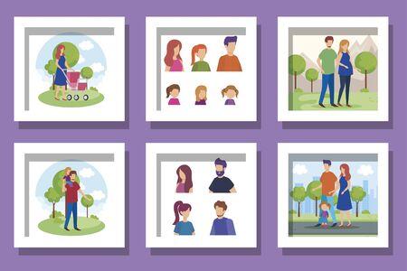 Illustration pour bundle of members family scenes vector illustration design - image libre de droit