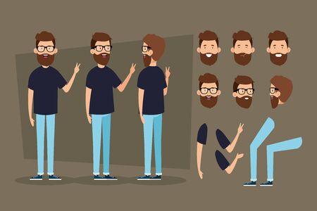 Ilustración de young man with beard and body parts characters vector illustration design - Imagen libre de derechos