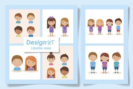 Illustration for set designs of cute kids avatar character vector illustration design - Royalty Free Image