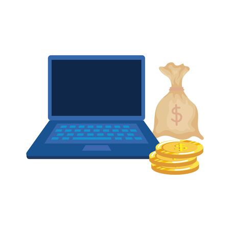 Illustration pour coins money dollars with laptop and sack vector illustration design - image libre de droit