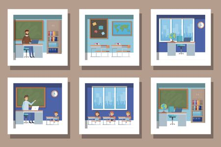 bundle of student with teachers scenes in the classroom vector illustration design