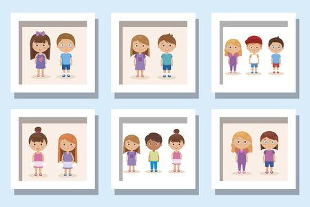 Illustration for bundle of cute kids avatar character vector illustration design - Royalty Free Image