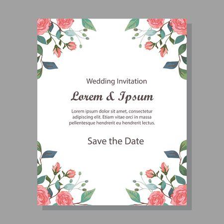 Illustration pour wedding invitation card with flowers decoration vector illustration design - image libre de droit