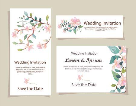 Illustration pour set of wedding invitation cards with flowers decoration vector illustration design - image libre de droit