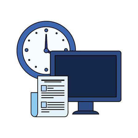Illustration pour desktop computer with time clock vector illustration design - image libre de droit