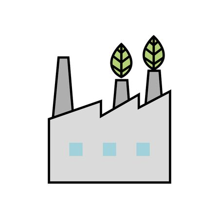 facade of industry friendly ecology icon vector illustration design