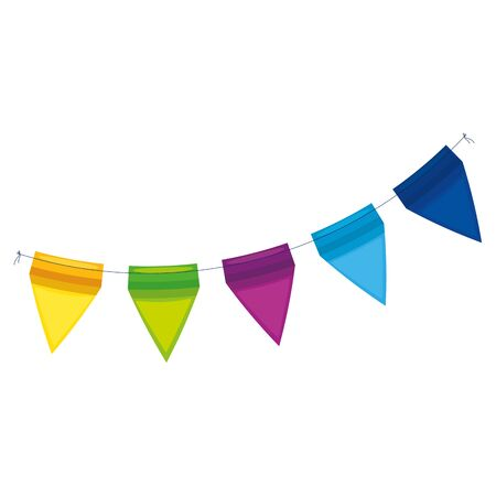 Illustration for Banner pennant design, Party happy birthday festival celebration holiday decoration enjoyment and entertainment theme Vector illustration - Royalty Free Image