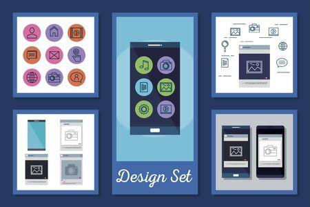 Illustration pour designs set of smartphone and social media icons vector illustration design - image libre de droit
