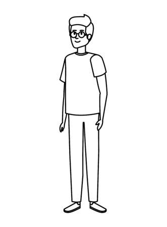 Vektor für young man with beard character vector illustration design - Lizenzfreies Bild