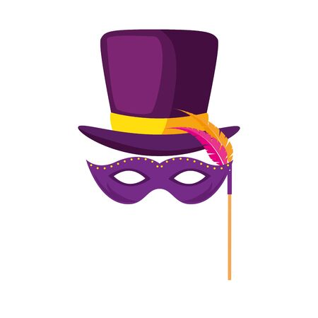 Illustration for Mardi gras mask and hat design, Party carnival decoration celebration festival holiday fun new orleans and traditional theme Vector illustration - Royalty Free Image