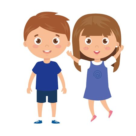 Ilustración de children standing on white background vector illustration design - Imagen libre de derechos