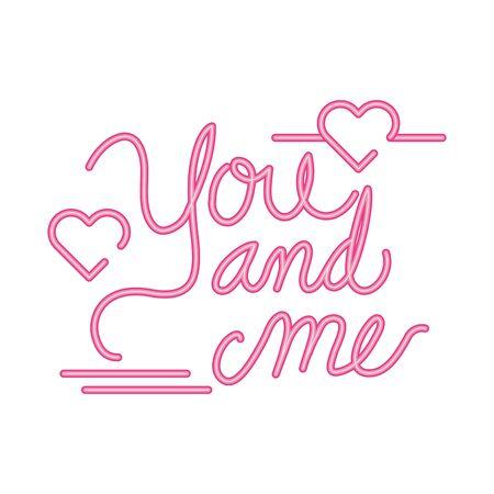 Illustration pour you and me lettering with hearts decoration vector illustration design - image libre de droit