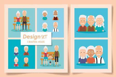 Illustration for six designs of grandparents with grandchild vector illustration design - Royalty Free Image