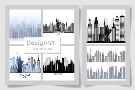 Six designs of new york buildings, City architecture urban modern ...